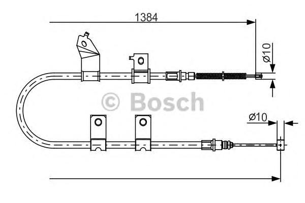 Трос ручного тормоза BOSCH 1987482082 AVEO L (для задних бараб)