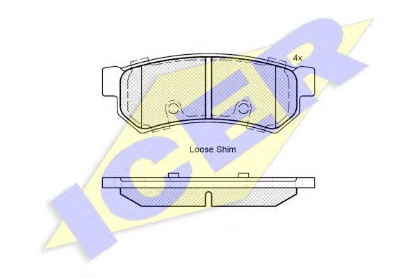 Колодки тормозные ICER 182058 Chevrolet LACETTI (2007-) задн (без ушек)