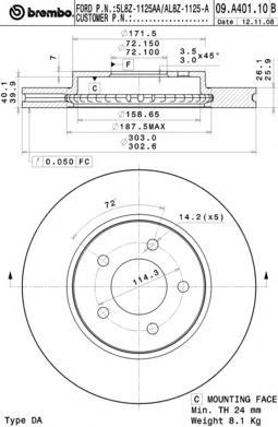 Диск тормозной FORD: MAVERICK 2.0 16V/2.3 16V/3.0 V6 24V 01- \ MAZDA: TRIBUTE 2.3 AWD/2.3 4WD/3.0 V6 AWD 00-08