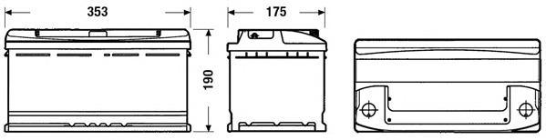 Аккумуляторная батарея 90Ah DETA STANDARD 12 V 90 AH 720 A ETN 0(R+) B13 353x175x190mm 22.8kg