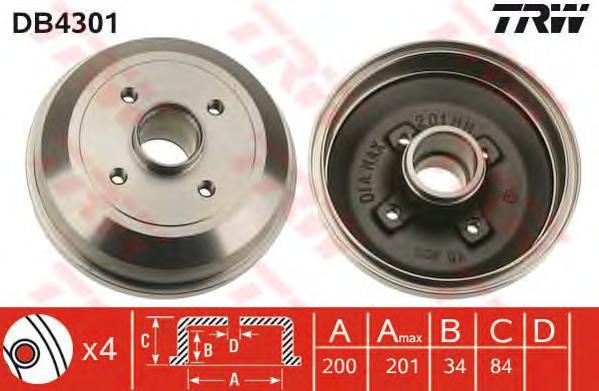 Барабан тормозной OPEL CORSA C ( -6/04) -ABS DB4301