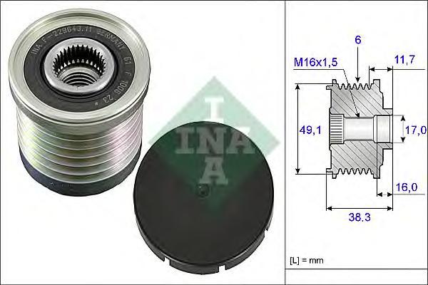 Шкив генератора INA 535003010 RENAULT (с обгонной муфтой)
