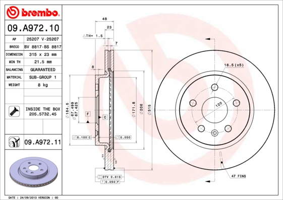 Диск тормозной Brembo Painted Disc 09.A972.11