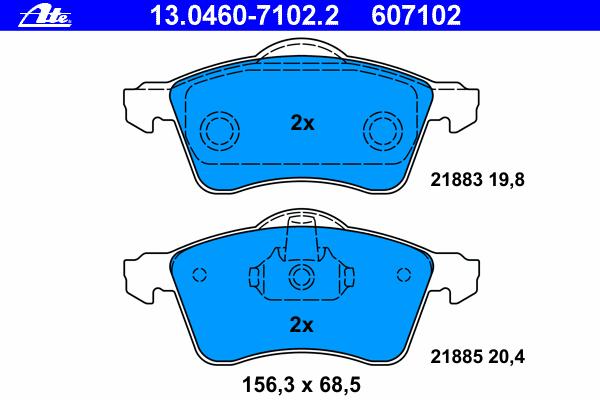Колодки тормозные дисковые передн, VW: TRANSPORTER IV c бортовой платформой 1.9 TD/2.0/2.4 D/2.4 D Syncro/2.5/2.5 Syncro/2.5 TDI/2.5 TDI Syncro 90-03, TRANSPORTER IV автобус 1