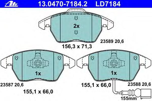 Колодки тормозные дисковые передн, CERAMIC, AUDI: A1 1.2 TFSI/1.4 TFSI/1.6 TDI/2.0 TDI/2.0 TFSI quattro 10-, A1 Sportback 1.2 TFSI/1.4 TFSI/1.6 TDI/2.0 TDI 11-, A3 1.2 TSI/1.4 T