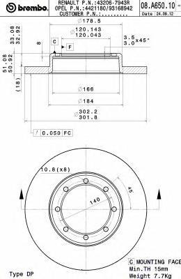 Диск торм. Re NI NV400, RE Master 10- со сдвоен. ш