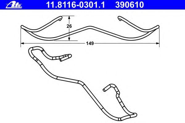 Комплект монтажный тормозных колодок FORD: COUGAR 2.0 16V/2.5 V6 24V 98-01, FIESTA V ST150 01-, MONDEO I 1.6 i 16V/1.8 TD/1.8 i 16V/1.8 i 16V 4x4/2.0 i 16V 93-96, MONDEO I 1.6 i 16V/1.8 4