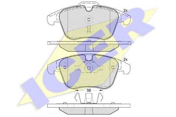 Колодки тормозные ICER 181775 FORD MONDEO 07-/VOLVO S60 10-/S80 08-/XC70 08-/FREELANDER 2 06-