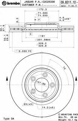 Торм.диск пер.[326x30] 5 отв.[min 2]