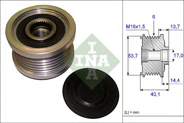 Шкив генератора INA 535020210 Opel Astra J 1.4/1.6 09-/Insignia 1.6/1.8 08-