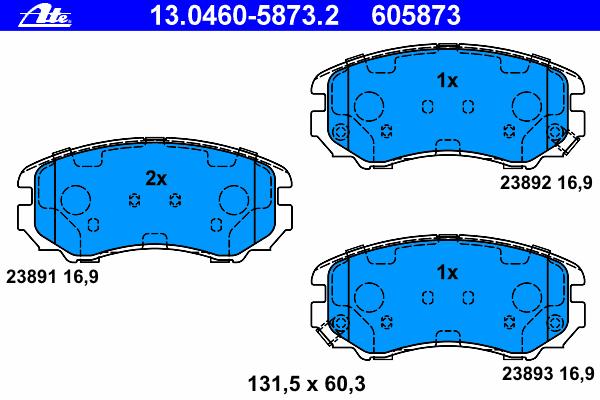 Колодки тормозные дисковые передн, HYUNDAI: COUPE 1.6 16V/2.0/2.0 GLS/2.7 V6 01-09, ELANTRA 1.6 CRDi 00-06, ELANTRA седан 1.6 CVVT/2.0 CVVT 06-11, ELANTRA седан 1.6 CRDi 00-06