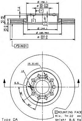 Диск тормозной AUDI A3/VW GOLF V/VI/PASSAT/TIGUAN передний вент.D=312мм.