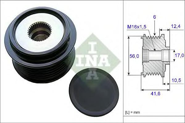 Шкив генератора INA 535021010 Audi A4/A5 1.8/2.0TFSI 07-/Q5 2.0TFSi 08-