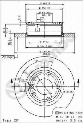 "Диск тормозной WV TRANSPORTER IV R14"" 90-03 передний не вент.D=260мм."