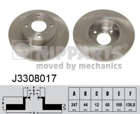 Диск тормозной NIPPARTS J3308017 Suzuki wagon r+ 247*12