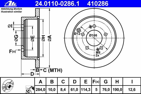 Диск тормозной задн, HYUNDAI: HIGHWAY VAN 2.0 16V/2.7 V6 24V 00-, SANTA FE I 2.0/2.0 CRDi/2.0 CRDi 4x4/2.0 CRDi 4WD/2.2 CRDi/2.2 CRDi 4x4/2.4 16V/2.4