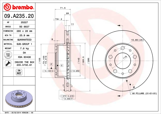 Диск тормозной CITROEN JUMPER/FIAT DUCATO/PEUGEOT BOXER 06-передний вент.D=280мм