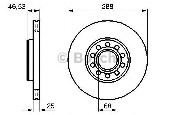 Диск тормозной SKODA SUPERB 02-08/VW PASSAT 00-05/передний вент.D=288мм.