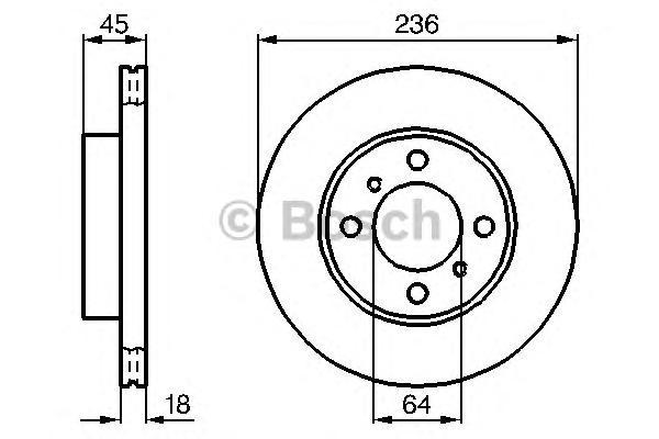 Диск тормозной BOSCH 0986478572 MMC Lancer 92- пер.