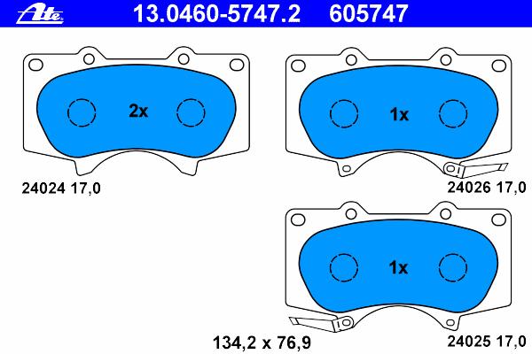 Колодки тормозные дисковые передн, LEXUS: GX 470 09-, GX 470 01-09 \ MITSUBISHI: PAJERO CLASSIC 3.0/3.2 DiD/3.8 02-, PAJERO IV 3.0 4WD/3.2 DI-D/3.2 DI-D 4WD/3.2 TD 4WD/3.8 V6/