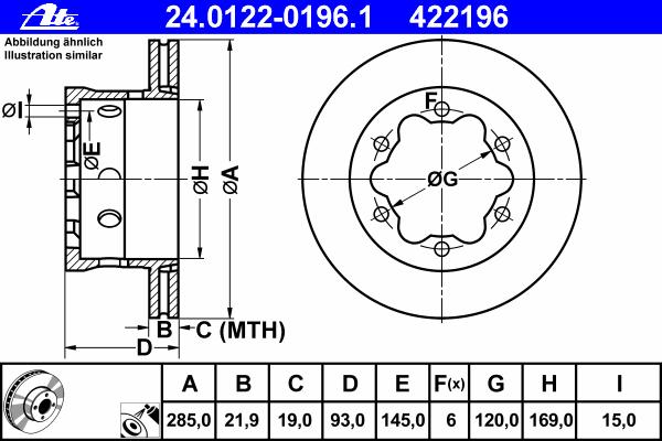 Диск тормозной задн, MERCEDES-BENZ: SPRINTER 4-t c бортовой платформой 408 CDI/408 D/410 D/410 D 4x4/411 CDI/411 CDI 4x4/412 D/412 D 4x4/413 CDI/413 CDI 4x4/414/41