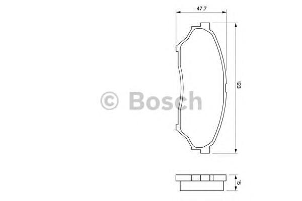 Колодки тормозные BOSCH 0986424713 дисковые передние 123x15.5x48\ Mitsubishi Pajero 1.8/2.0GDi 00>