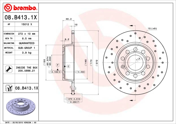 Диск тормозной задн, AUDI: A1 1.2 TFSI/1.4 TFSI/1.6 TDI/2.0 TDI/2.0 TFSI quattro 10-, A1 Sportback 1.2 TFSI/1.4 TFSI/1.6 TDI/2.0 TDI 11-, A3 1.2 TSI/1.4 TFSI/1.6/1.6