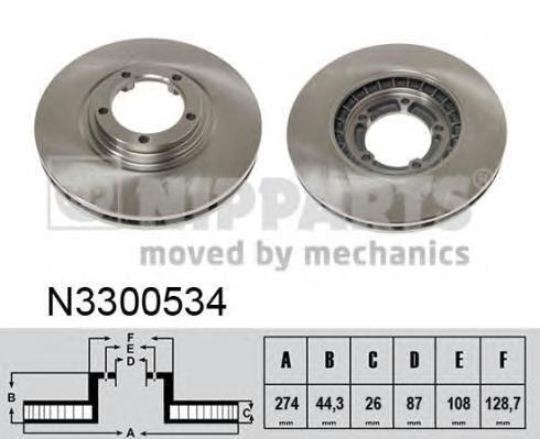 Диск тормозной NIPPARTS N3300534 Hyundai H-1 274*26 пер