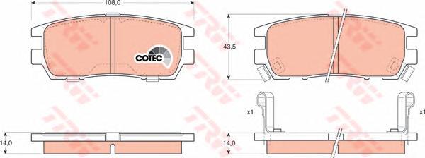 Колодки тормозные TRW GDB1127 MMC Pajero
