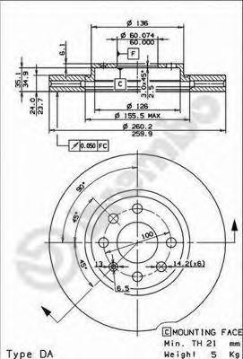 Диск тормозной OPEL CORSA C 00-/MERIVA 03-10/COMBO 00-/TIGRA 04- передний