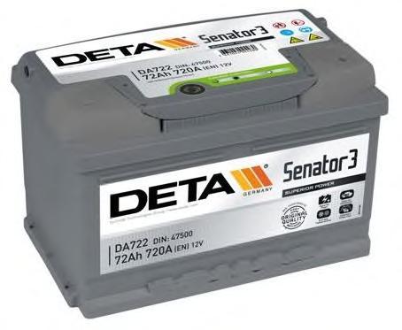 Аккумуляторная батарея 72Ah DETA SENATOR3 12 V 72 AH 720 A ETN 0(R+) B13 278x175x175mm 16.6kg
