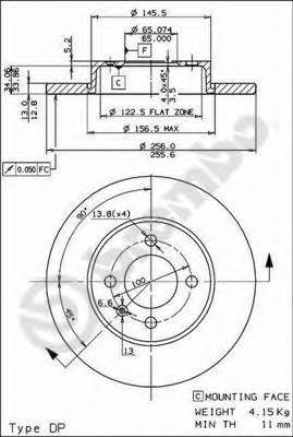 Диск тормозной VW GOLF III 91-97/PASSAT 88-97/VENTO передний не вент.D=256мм.