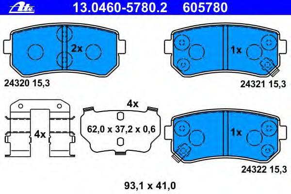 Колодки тормозные дисковые задн, HYUNDAI: ACCENT III 1.4 GL/1.5 CRDi GLS/1.6 GLS 05-10, ACCENT седан 1.4 GL/1.5 CRDi GLS/1.6 GLS 05-10, SONATA V 2.0 V