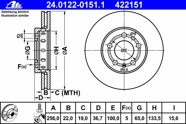 Диск тормозной передн, AUDI: A1 1.2 TFSI/1.4 TFSI/1.6 TDI/2.0 TDI/2.0 TFSI quattro 10-, A1 Sportback 1.2 TFSI/1.4 TFSI/1.6 TDI/2.0 TDI 11-, A2 1.4/1.4 TDI/1.6 FSI