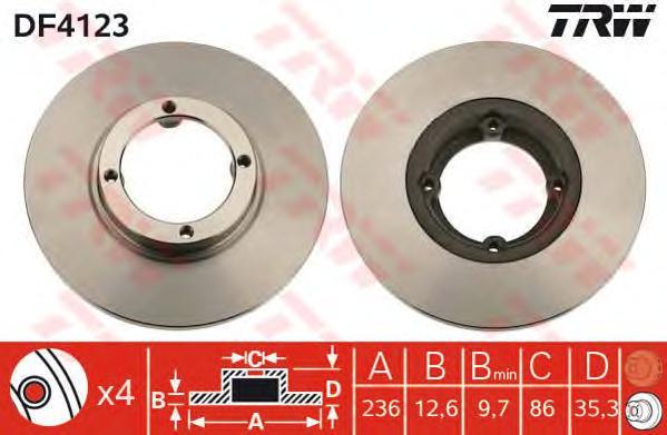 Диск тормозной передний DAEWOO MATIZ, CHEVROLET SPARK DF4123