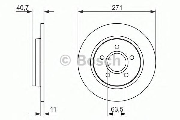 Диск тормозной BOSCH 0986479763 FORD FOCUS III 11-/C-MAX 10- задний 271*11