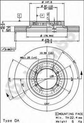 Диск тормозной MITSUBISHI PAJERO 90-/L 200 92- передний вент.D=276мм.