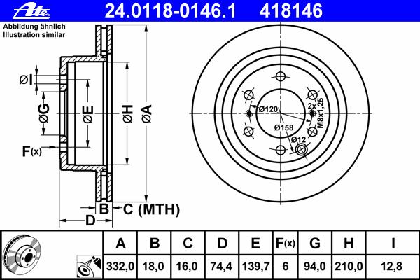 Диск тормозной задн, MITSUBISHI: PAJERO CLASSIC 3.0/3.2 DiD/3.8 02-, PAJERO IV 3.0 4WD/3.2 DI-D/3.2 DI-D 4WD/3.2 TD 4WD/3.8 V6/3.8 V6 06-, PAJERO IV Van 3.2 DI-D/3