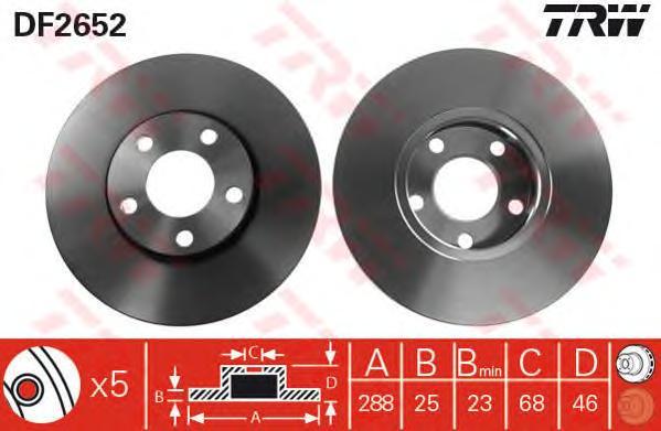 Диск тормозной передний AUDI 100 (C4), A4 (B5-B7), A6 (C4-C5), VW PASSAT (3B_) DF2652