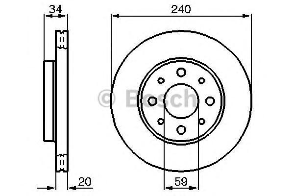 Диск тормозной FIAT: 500 07 -, 500 C 09 -, PANDA 03 -, PANDA Van 04- FORD: KA 09-