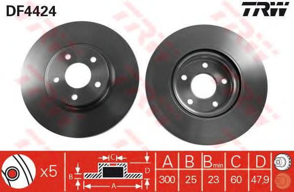 Диск тормозной передний FORD FOCUS II-III (спорт-пакет) 300мм DF4424