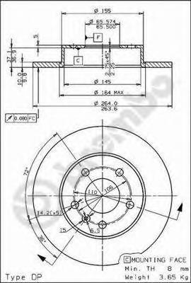 Диск тормозной OPEL ASTRA 98-/MERIVA 03-/ZAFIRA 99- задний
