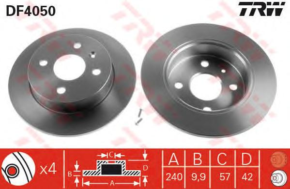 Диск тормозной задний OPEL ASTRA G, H, MERIVA DF4050