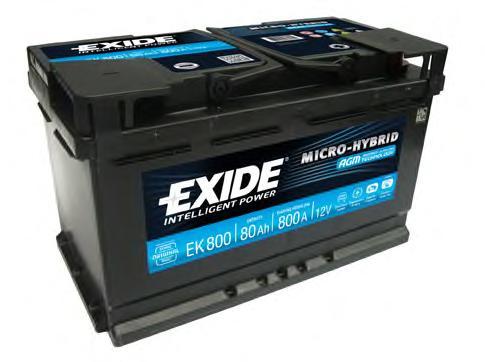 Аккумулятор EXIDE MICRO-HYBRID AGM 12V 80AH 800A ETN 0(R+) B13 315x175x190мм