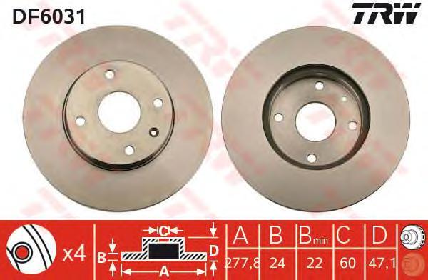 Диск тормозной передний CHEVROLET EPICA DF6031
