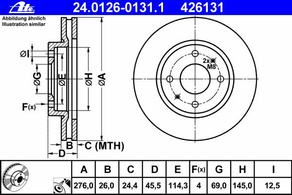 Диск тормозной передн, MITSUBISHI: GALANT VI 2.0/2.4 GDI/2.5 V6 24V/2.5 V6 24V 96-04, GALANT VI универсал 2.0/2.4 GDI/2.5 V6 24V/2.5 V6 24V/2.8 TD 96-03, LANCER се