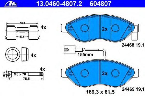 Колодки тормозные дисковые передн, CITROEN: JUMPER c бортовой платформой 2.2 HDi 100/2.2 HDi 110/2.2 HDi 120/2.2 HDi 130/2.2 HDi 150/3.0 HDi 145/3.0 HDi 160/3.0 HDi 180 06-, J
