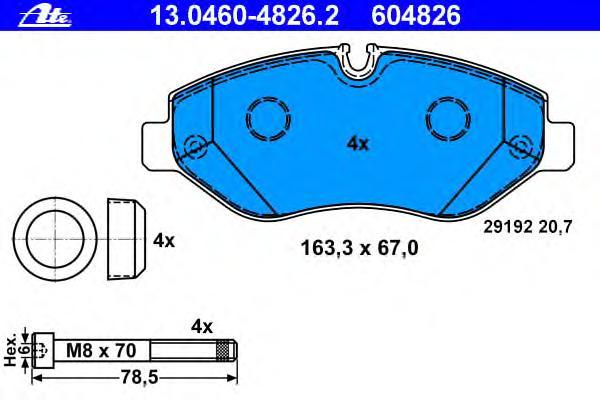 Колодки тормозные дисковые передн, MERCEDES-BENZ: SPRINTER 3,5 c бортовой платформой 309 CDI/310 CDI/311 CDI/311 CDI 4x4/313 CDI/313 CDI 4x4/315 CDI/315 CDI 4x4/316/316 CDI/31