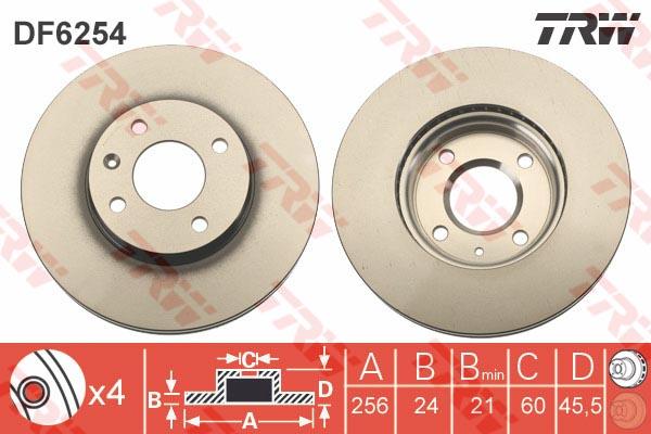 Диск тормозной передний CHEVROLET AVEO (T300), COBALT (256мм) DF6254