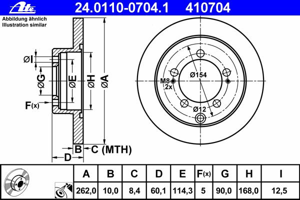 Диск тормозной задн, CHRYSLER: SEBRING 2.0 01-07 \ MITSUBISHI: ECLIPSE II 2000 GS 16V/2000 GT 16V/2400 GS 16V 94-99, LANCER седан 1.3/1.6/2.0/2.0/2.0 16V EVO IX/2.